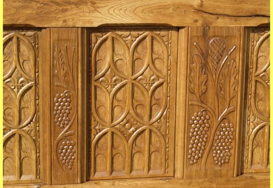 Grand coffre-Gothique-chene-4 panneaux-n-3